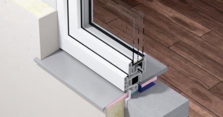 Przekrój okna zzastosowaniem systemu SWS dociepłego montażu okien
