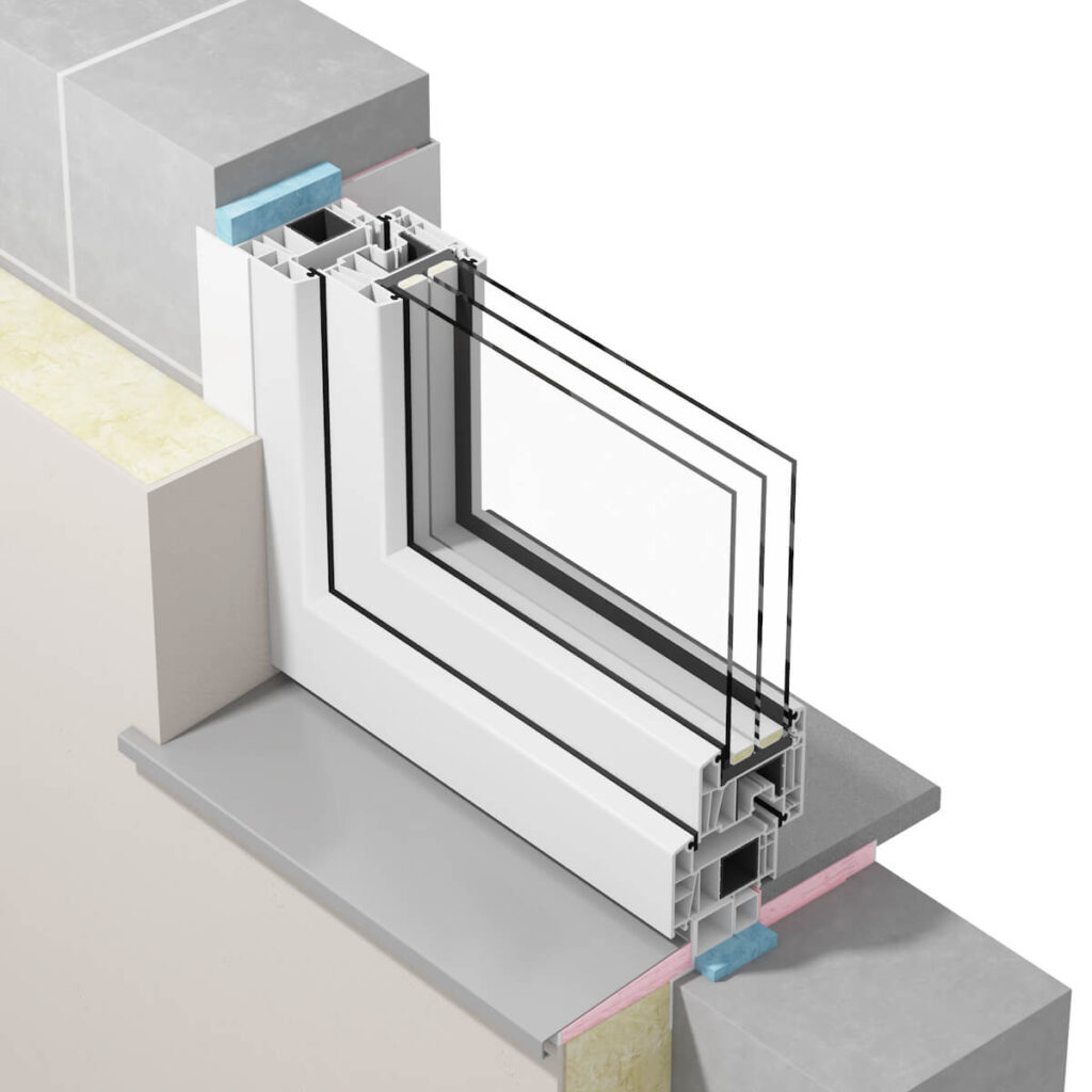 Przekrój okna zamontowanego wgzasad ciepłego montażu prezentujący warstwę pianki poliuretanowej