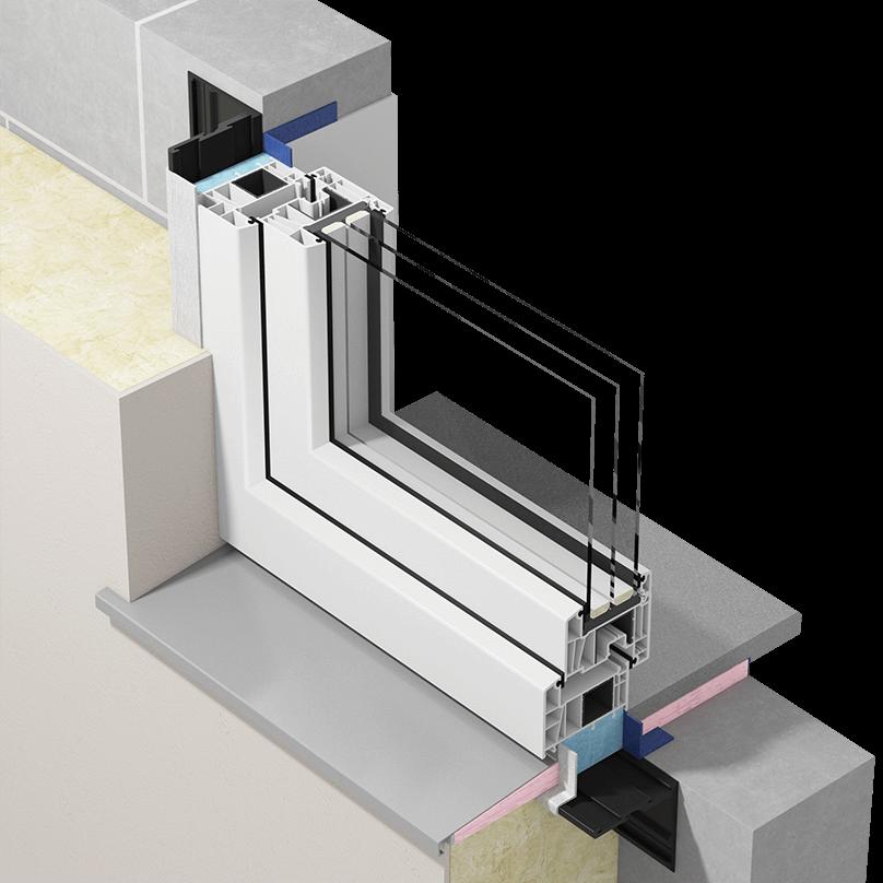 Przekrój okna zamontowanego wwarstwie izolacji termicznej zzastosowaniem płynnych membran