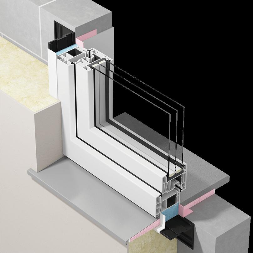 Przekrój okna zamontowanego wwarstwie izolacji termicznej zzastosowaniem taśm paroizolacyjnych